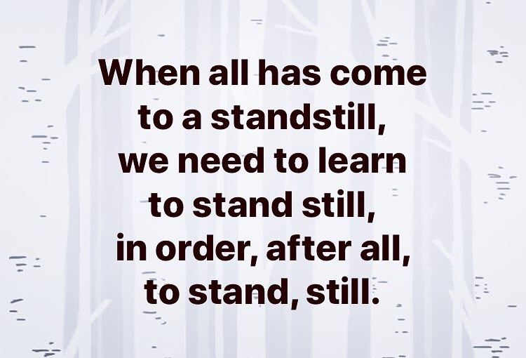 When all has come to a standstill, we need to learn to stand still, in order, after all, to stand, still.